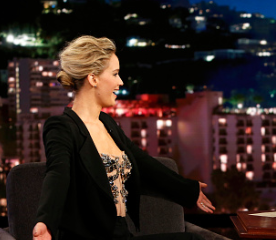 Jennifer Lawrence wearing an amazing suit on the Jimmy Kimmel Show