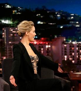 Jennifer Lawrence wearing an amazing suit on the Jimmy Kimmel Show
