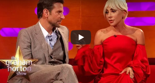 The Graham Norton Show with Bradley Cooper and Lady Gaga. Bradley Cooper wears three piece tweed suit