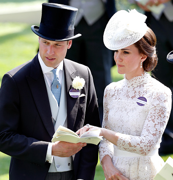 Prince William and the Duchess of Cambridge attend Royal Ascot Horse Races. Prince William wears a stylish suit.