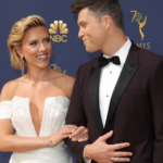 Colin Jost and Scarlett Johansson on the red carpet at the 70th annual primetime Emmys
