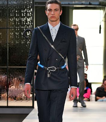 Model wears Burberry on the runway